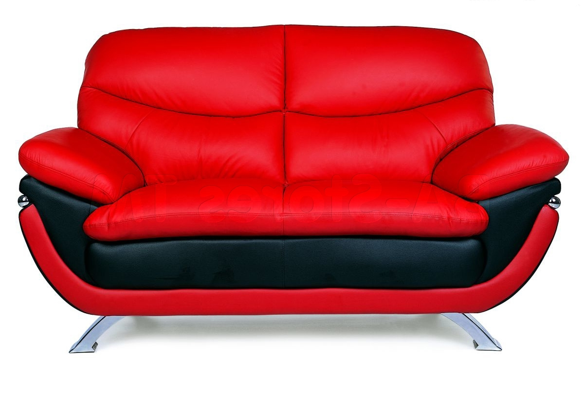 Red Leather Couches And Loveseats Regarding Latest Furniture: Fabulous Red Leather Couches With Black Leather Accent (View 13 of 20)
