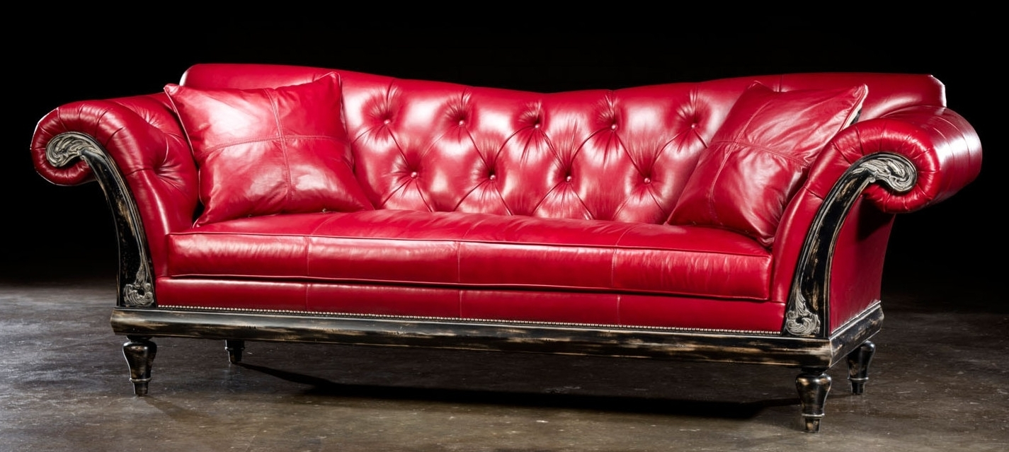 Red Leather Couches And Loveseats With 2018 1 Red Hot Leather Sofa, Usa Made, Lost Look From The Past (View 15 of 20)