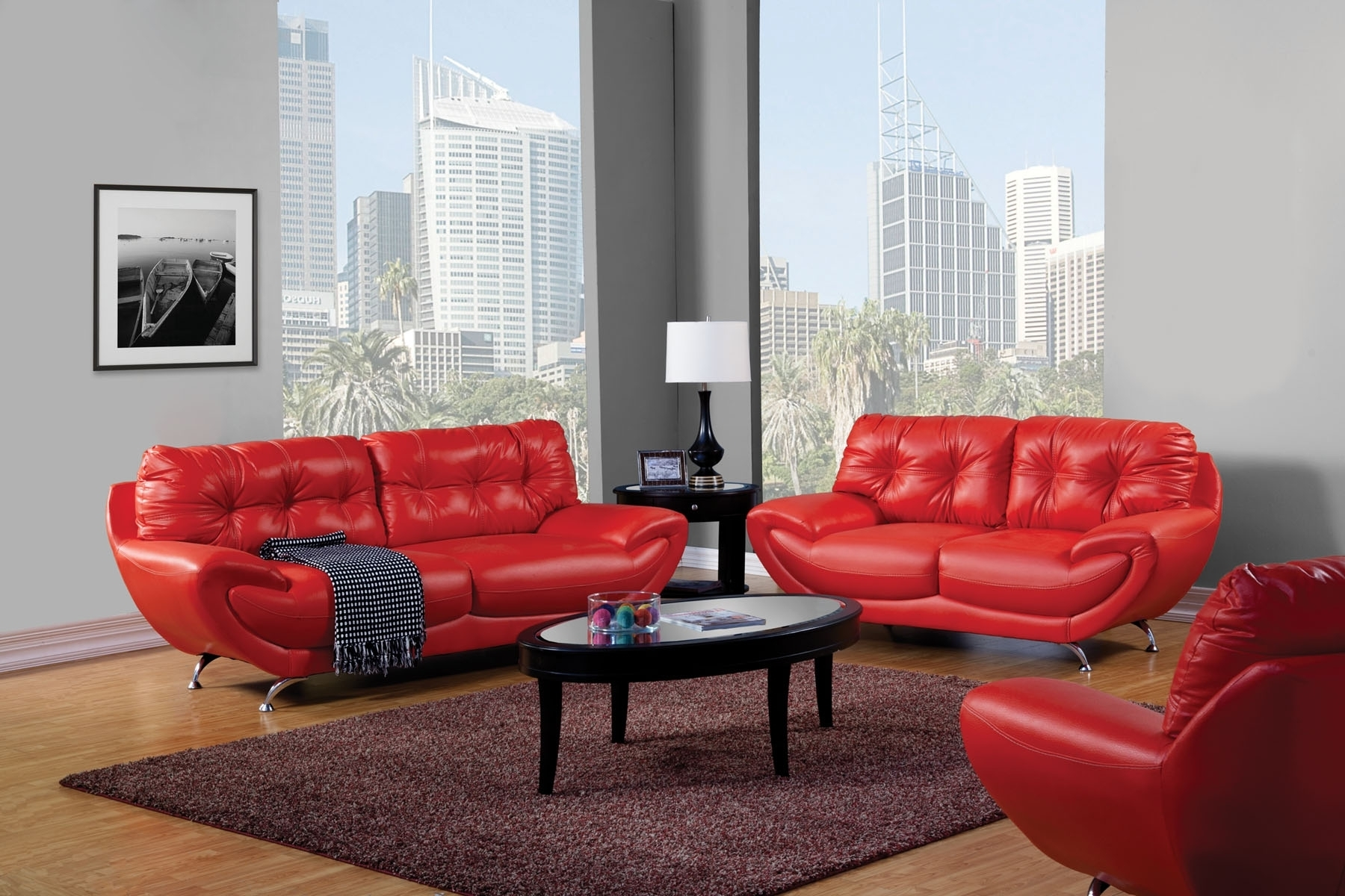 Red Leather Couches For Living Room Inside Well Known Red Leather Sofa Living Room Design • Living Room Design (View 7 of 20)