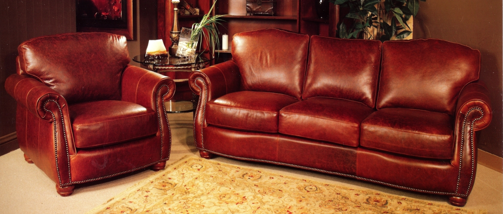 Red Leather Couches Throughout Well Known Rustic Red Leather Sofa And Rustic Red Leather Chair With Rustic (View 12 of 20)