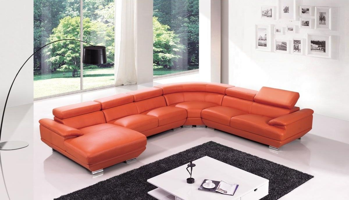Red Leather Four Pieces Extra Large Modern Sectional Sofa North With Regard To Current Sectional Sofas In North Carolina (View 10 of 20)