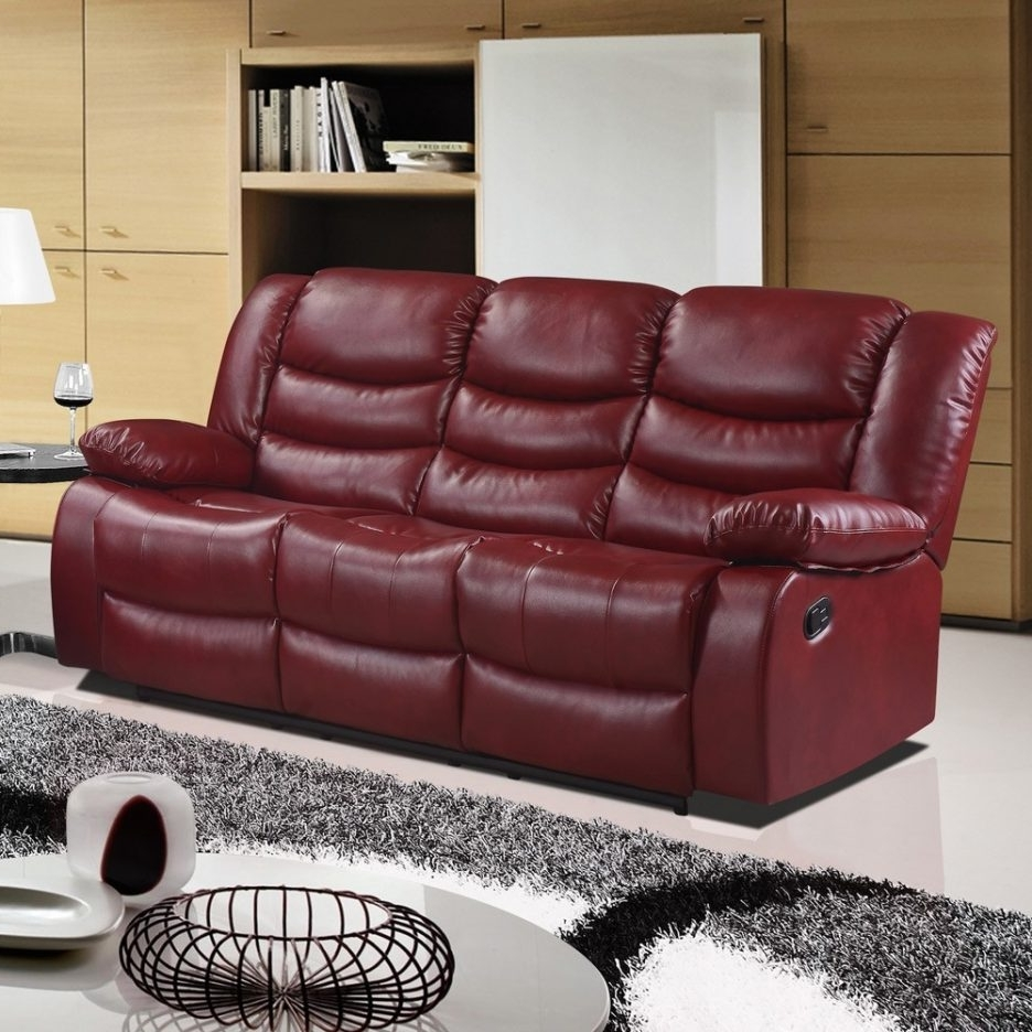Red Leather Reclining Sofas And Loveseats For Widely Used Recliner Sofa Leather 3 Reclining Seat Sofa Dual Reclining (View 7 of 20)