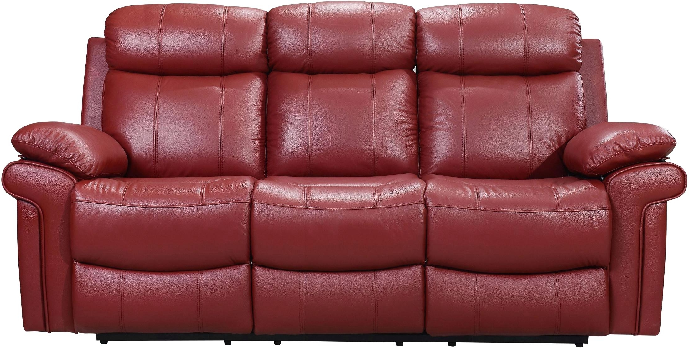 Red Leather Reclining Sofas And Loveseats Regarding Recent Red Leather Recliner Red Faux Leather Reclining Sofa Red Leather (View 16 of 20)