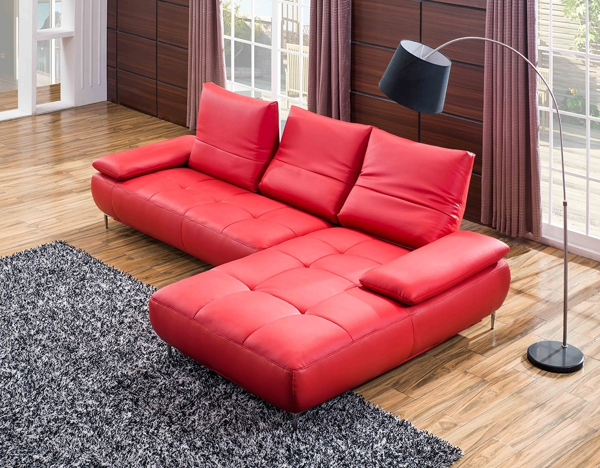 Red Leather Sectional Couches With Regard To Most Recently Released Contemporary Red Italian Leather Sectional Sofa (View 9 of 20)