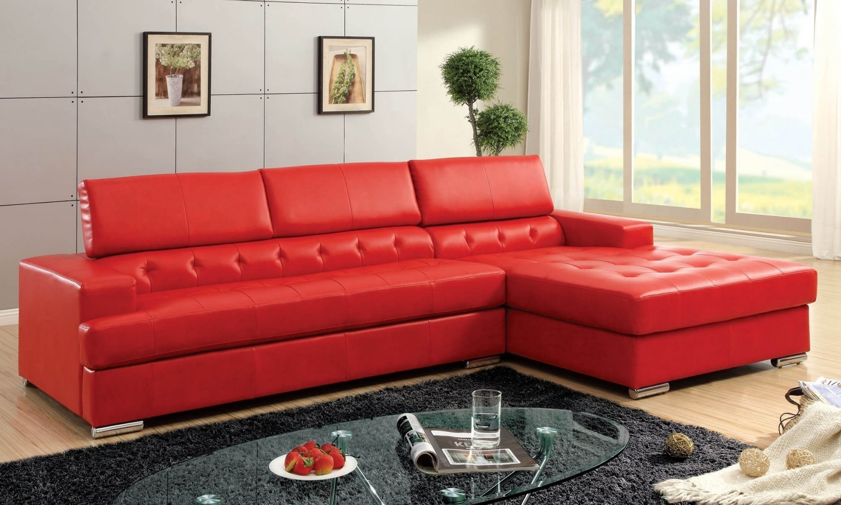 Red Leather Sectional Sofa Contemporary – Best Sectional In Throughout Fashionable Red Sectional Sofas With Ottoman (View 13 of 20)