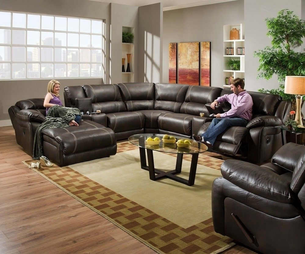 Red Leather Sectional Sofas With Recliners For Popular Blackjack Simmons Brown Leather Sectional Sofa Chaise Lounge (View 4 of 20)