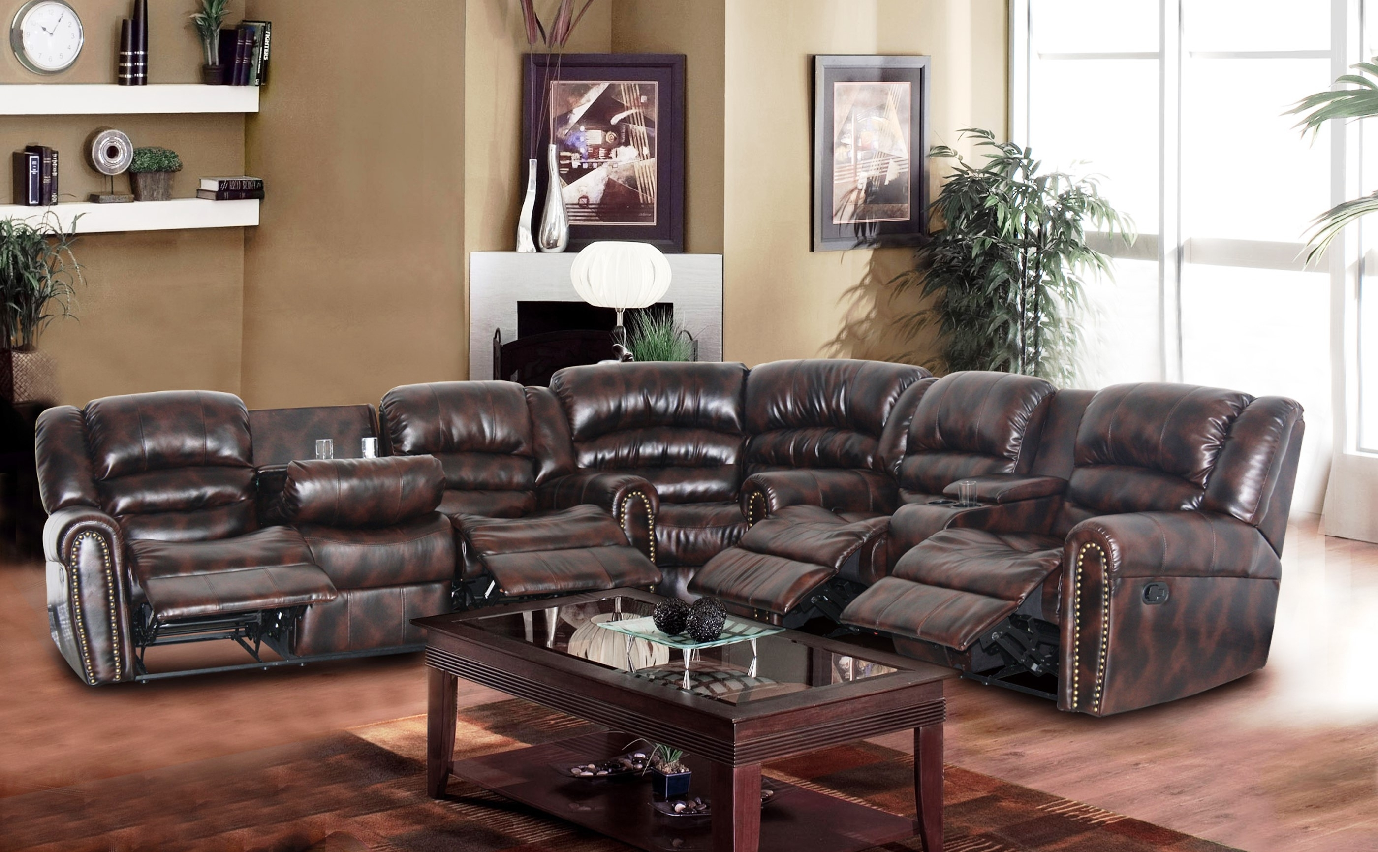 Red Leather Sectional Sofas With Recliners Inside Best And Newest Modern Leather Sofa Tags : Modern Leather Sectional Sofa With (View 14 of 20)