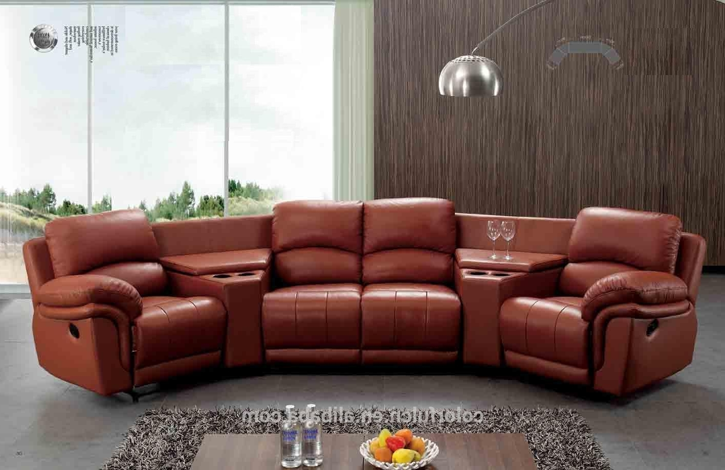 Red Leather Sectional Sofas With Recliners Inside Best And Newest Sectional Sofa Design: Semi Circular Sectional Sofa Couches Round (View 20 of 20)