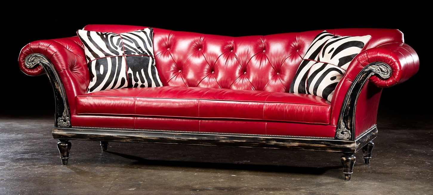 Red Leather Sofas Regarding Best And Newest 1 Red Hot Leather Sofa, Usa Made, Lost Look From The Past (View 15 of 20)