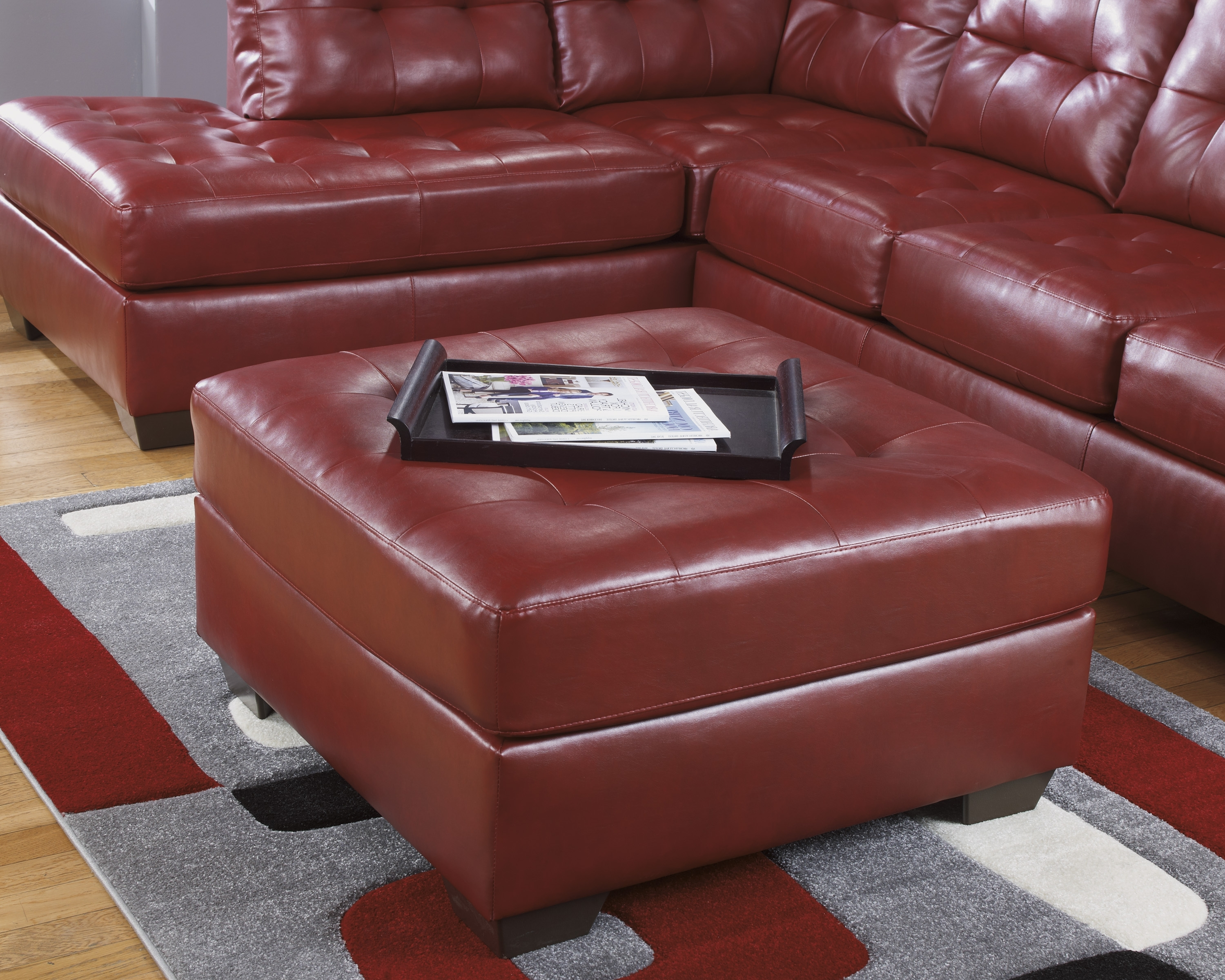 Red Sectional Sofas With Ottoman Pertaining To Preferred Awesome Ashley Red Leather Sectional Contemporary – Liltigertoo (View 16 of 20)