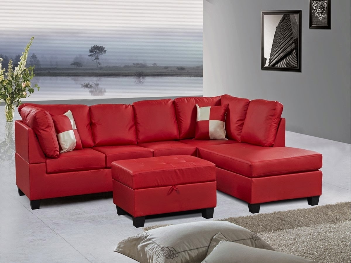 Red Sectional Sofas With Ottoman Regarding Best And Newest Red Couch: Red Leather Sectional Couch (View 4 of 20)
