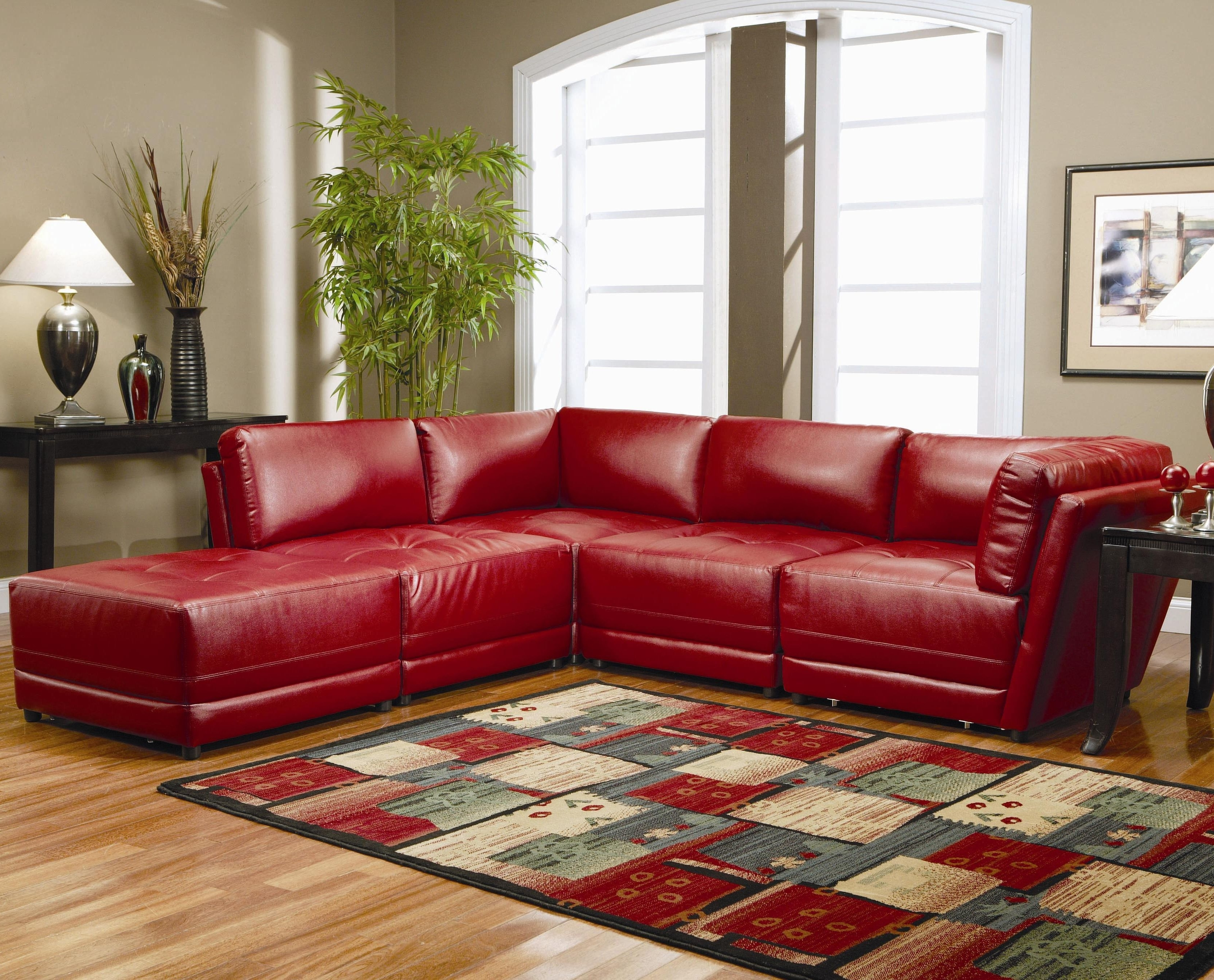 Red Sectional Sofas With Ottoman With Regard To Current Sofas : Red Sectional Cheap Sectional Sofas U Shaped Couch (View 11 of 20)