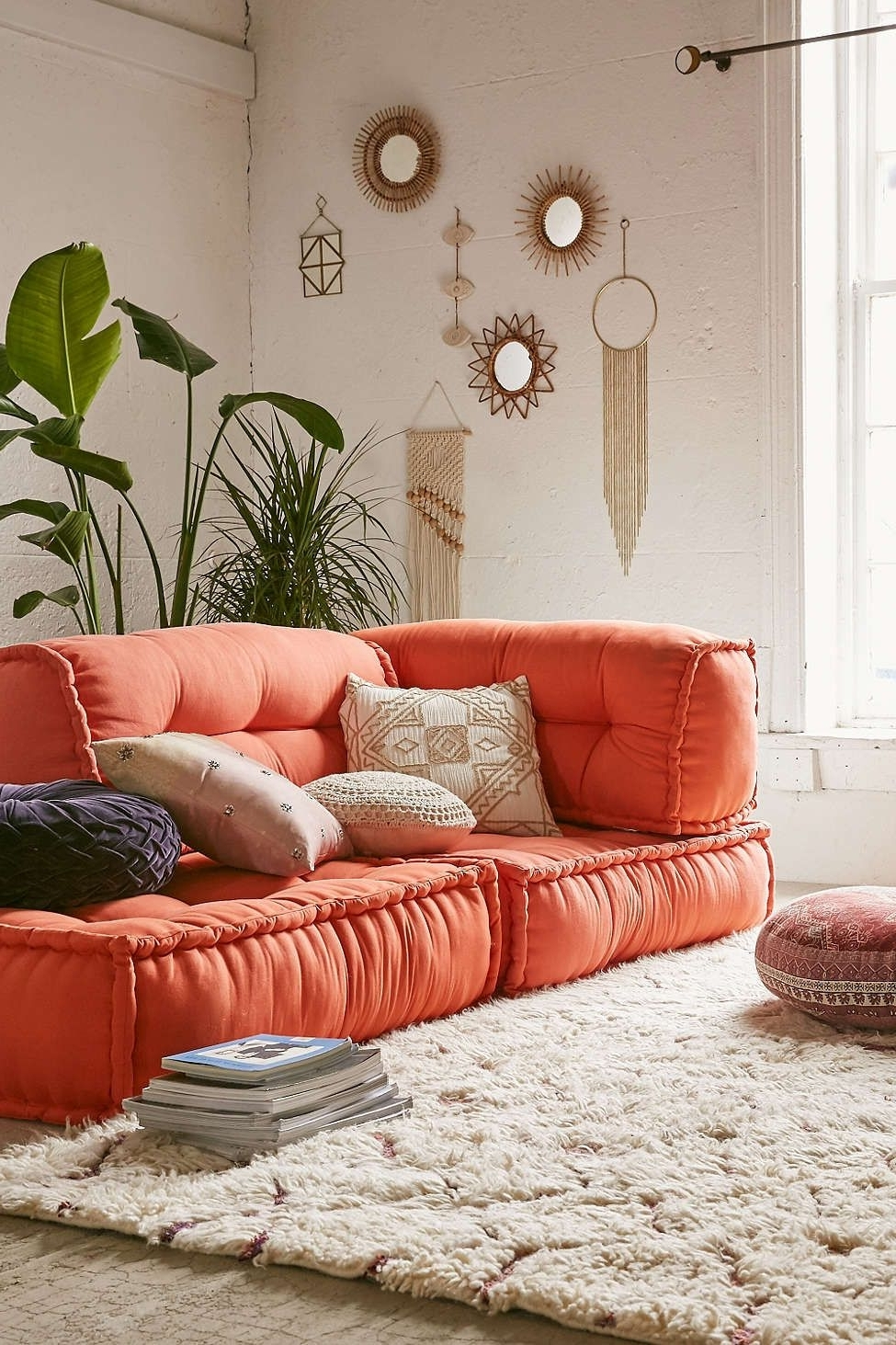 Reema Floor Cushion, Orange Couch And Room For Newest Floor Cushion Sofas (View 2 of 20)