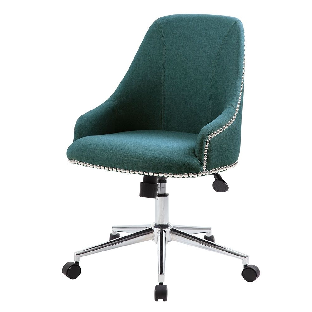 Retro Office Chair In Fabric With Nailhead Trim (View 19 of 20)