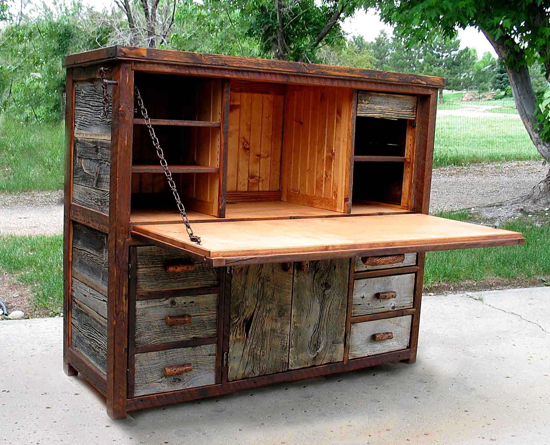 Rustic Barnwood Desks – Computer, Fold Down, And Seven Drawer Wood Inside Most Recently Released Rustic Computer Desks (Gallery 12 of 20)