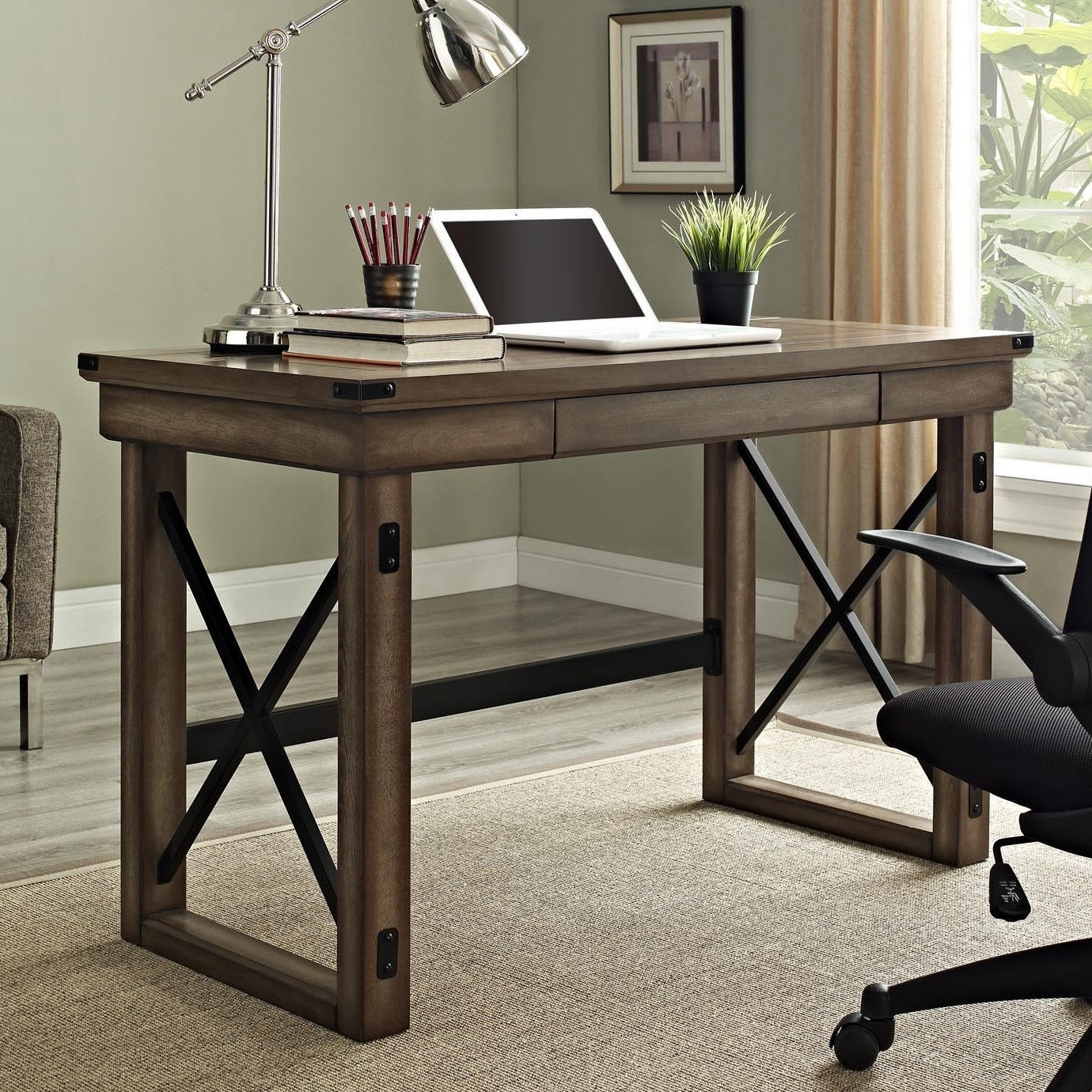 Rustic Computer Desks With Best And Newest Urban Industrial Desk Rustic Writing (View 14 of 20)