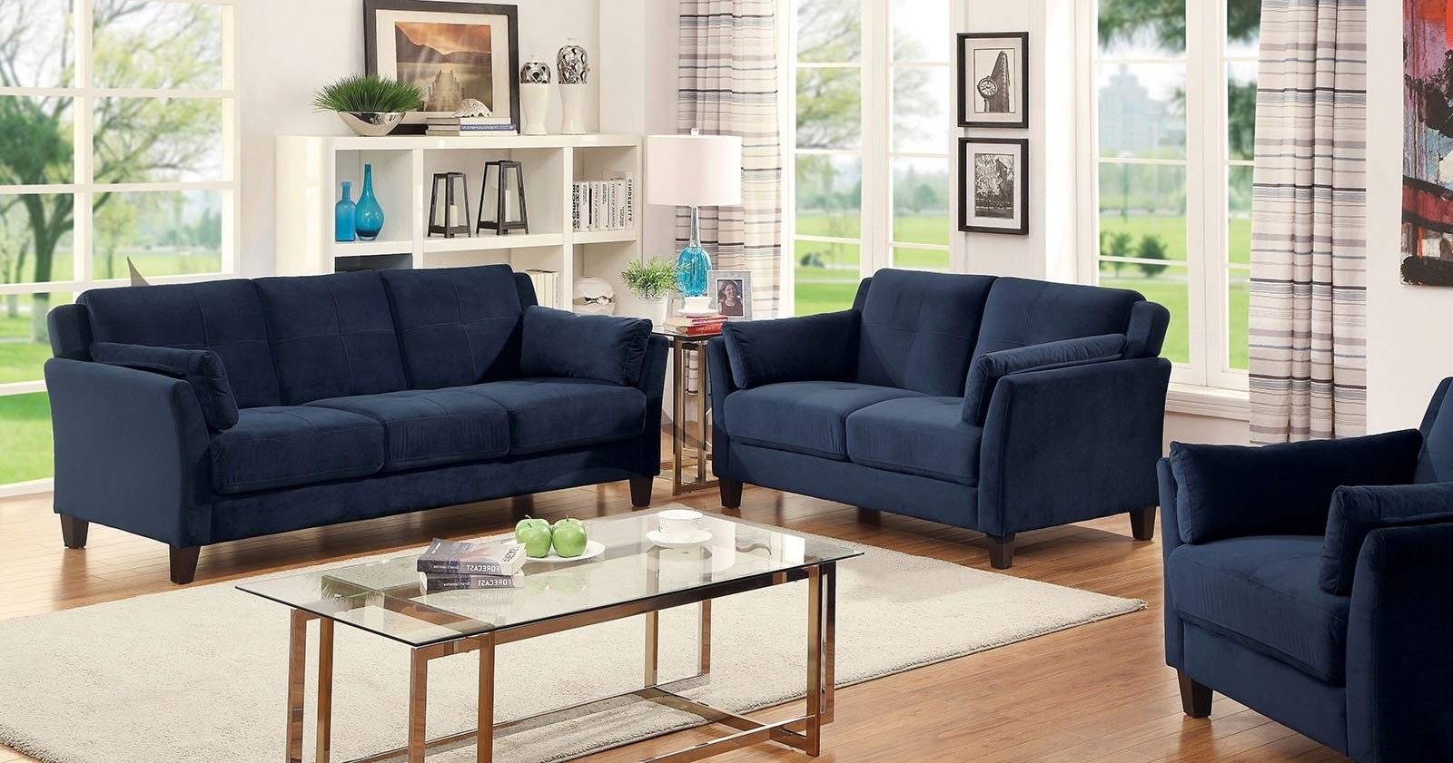 Sale 249494 Royal Home Sofa Set Riva Dark Blue 3Pc Sofa Awesome For Best And Newest Dark Blue Sofas (View 14 of 20)
