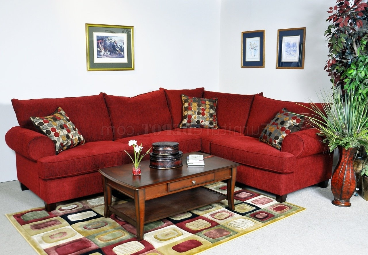 Salt Lake City Sectional Sofas Intended For 2018 Red Fabric Contemporary Sectional Sofa W/rolled Arms (View 13 of 20)