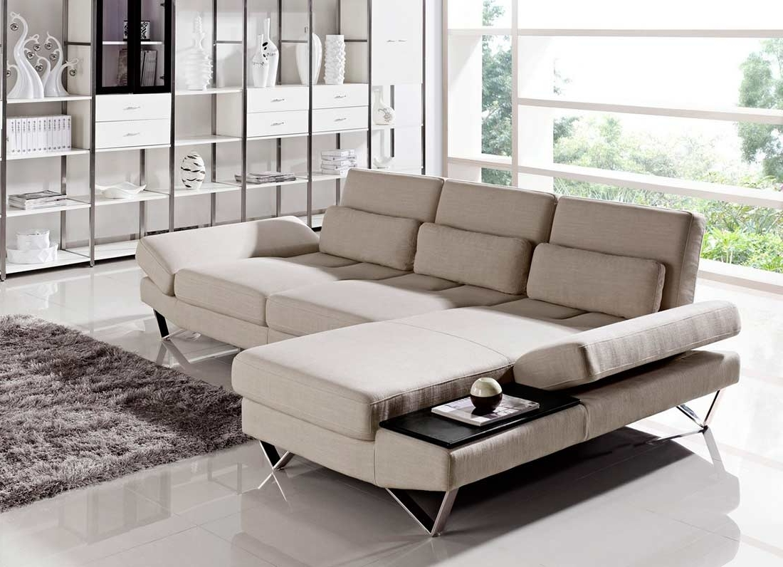 Salt Lake City Sectional Sofas Pertaining To Well Known Soft Fabric Sectional Sofa With Built In End Table Vg (View 9 of 20)