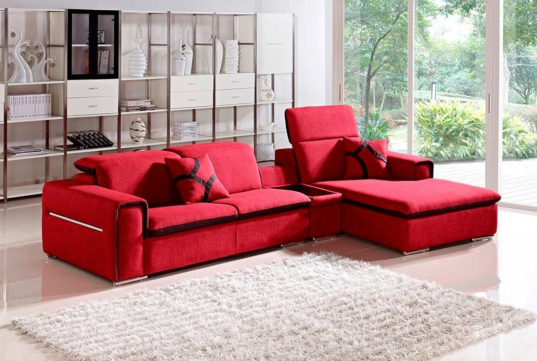 San Francisco Sectional Sofas In Latest Modern Red Fabric Sectional Sofa Vg (View 15 of 20)