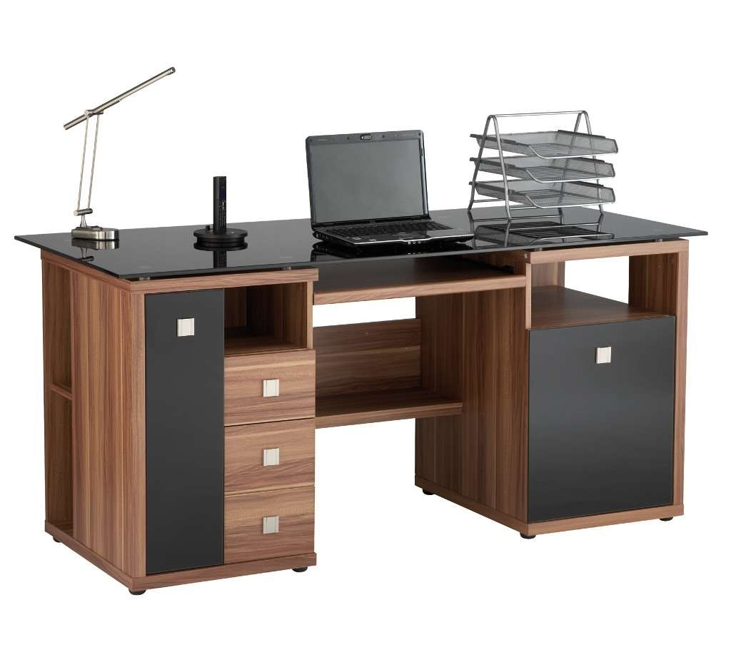 Saratoga Walnut Effect Executive Computer Desk Within Most Recent Executive Computer Desks (View 16 of 20)