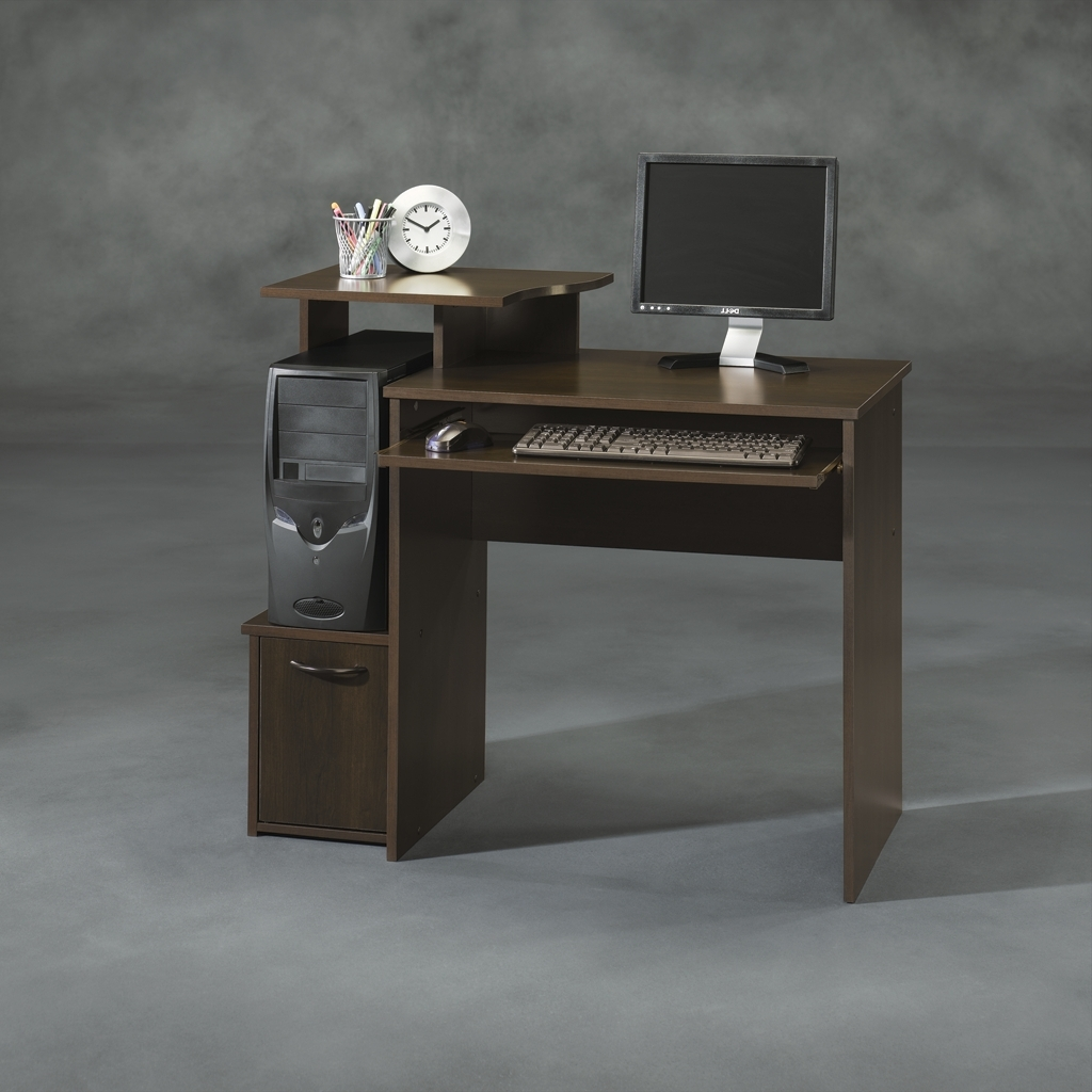 Sauder Beginnings Cinnamon Cherry Computer Desk W/ Raised Shelf 408726 Inside 2019 Amazon Computer Desks (View 18 of 20)