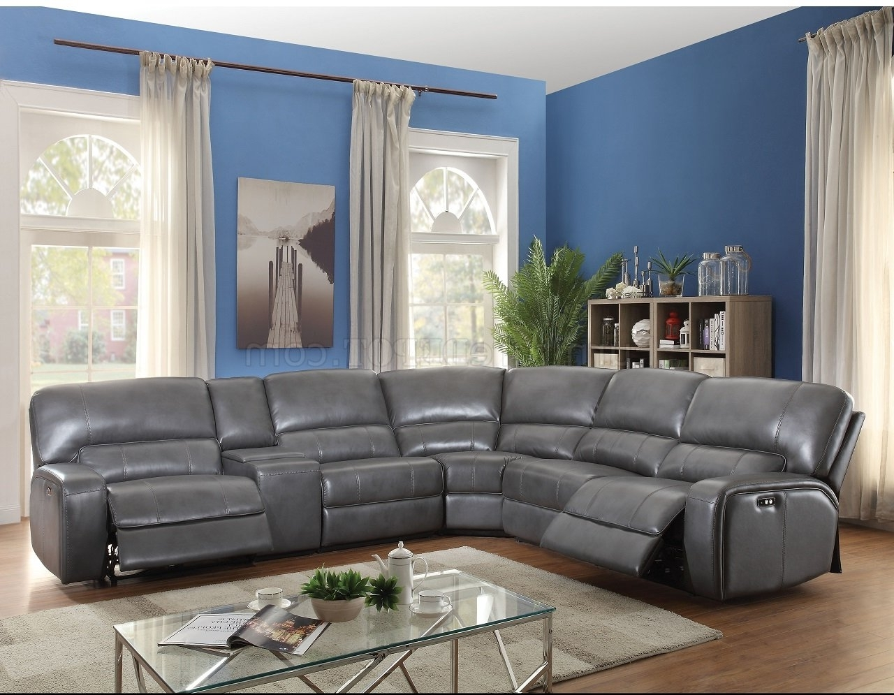Saul Power Motion Sectional Sofa 53745 In Gray Leather Aire Inside Famous Motion Sectional Sofas (View 18 of 20)