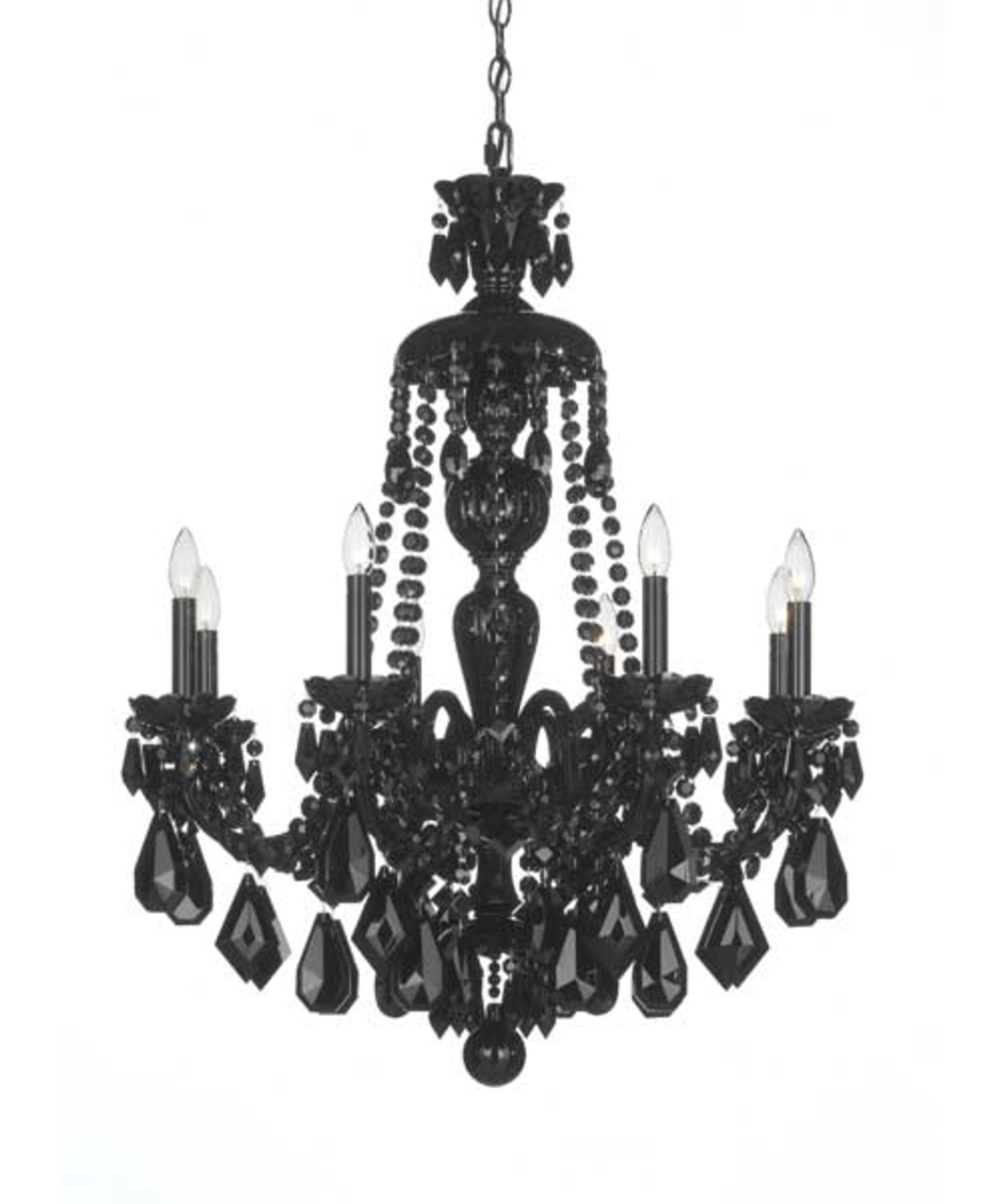 Schonbek 5737Bk Hamilton Black 28 Inch Wide 8 Light Chandelier Throughout Widely Used Traditional Crystal Chandeliers (View 11 of 20)