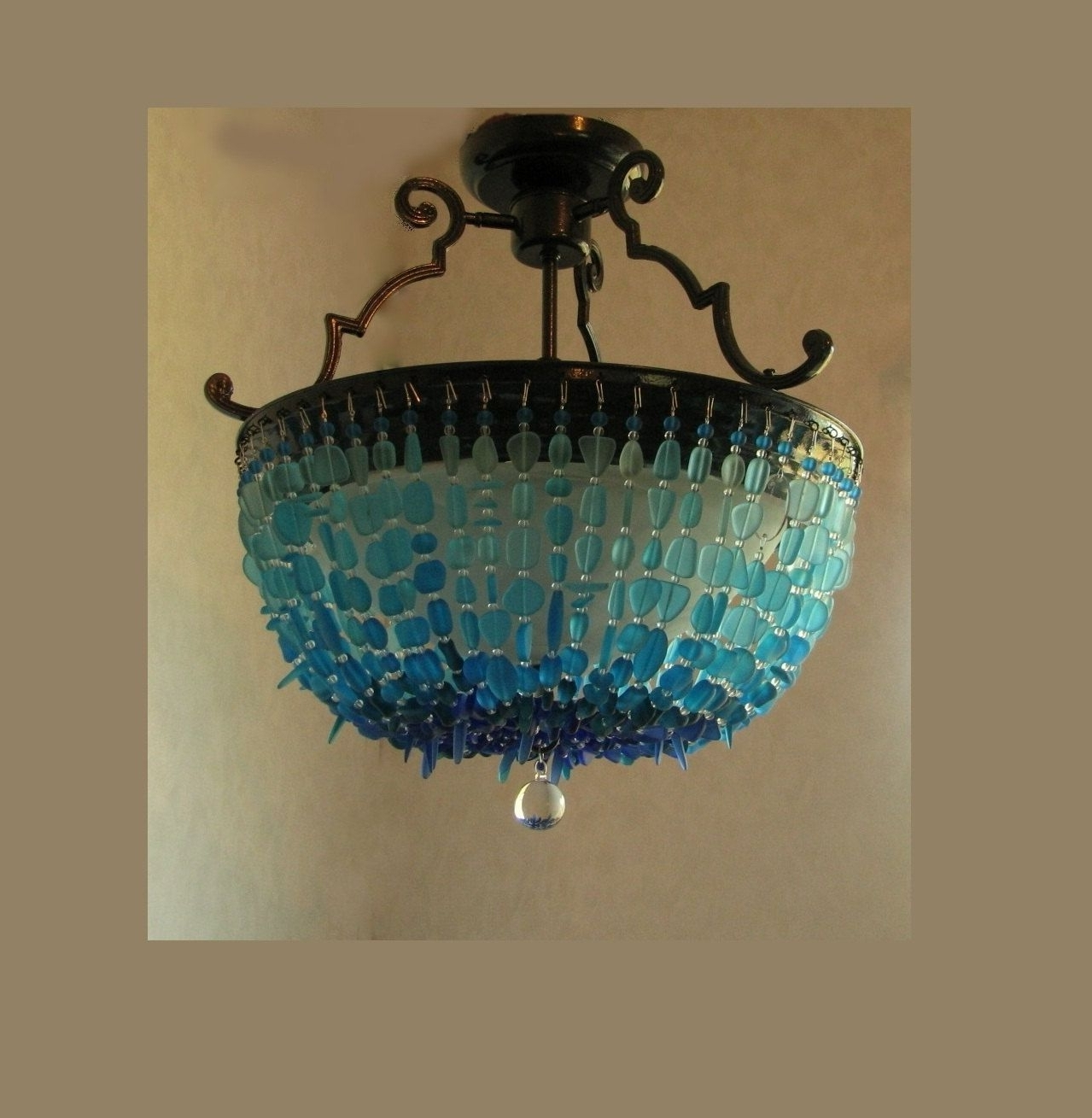 Sea Glass Chandelier Lighting Blue Ombre Coastal Decor Beach Glass In Most Popular Turquoise Glass Chandelier Lighting (View 15 of 20)
