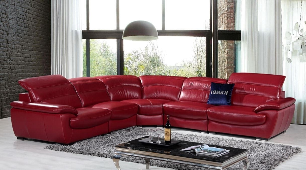 Sectional Sofa Design: Good Looking Red Leather Sectional Sofa Red In Trendy Red Leather Sectional Couches (View 5 of 20)