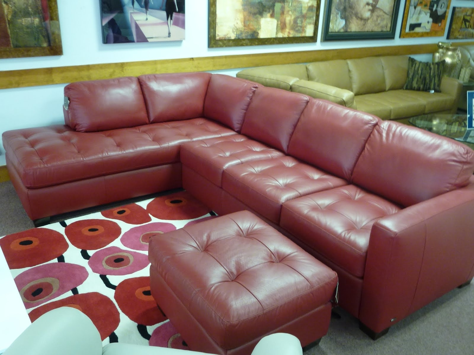 Sectional Sofa Design: Wonderful Natuzzi Leather Sectional Sofa Pertaining To Popular Red Leather Sectionals With Ottoman (View 12 of 20)