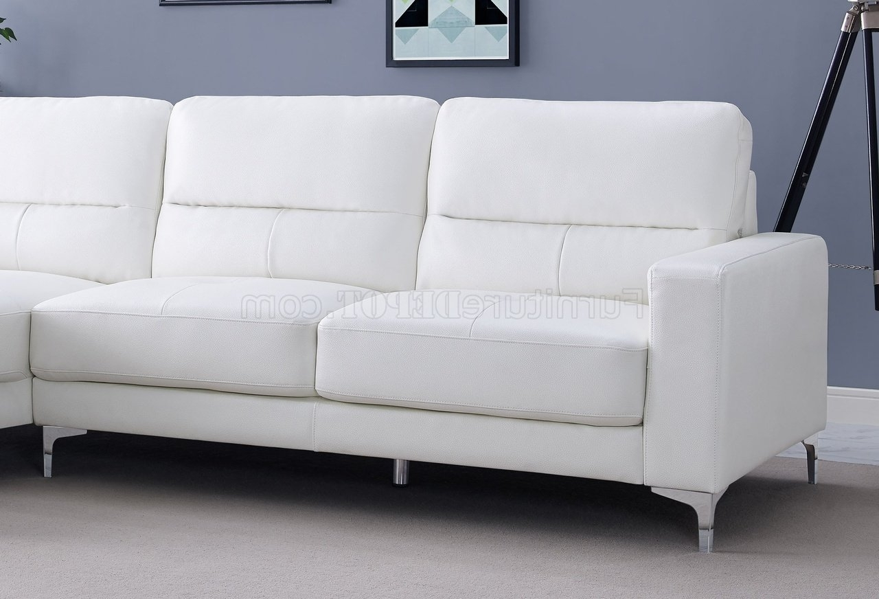 Sectional Sofa In White Bonded Leatherwhiteline For Recent Memphis Sectional Sofas (View 6 of 20)