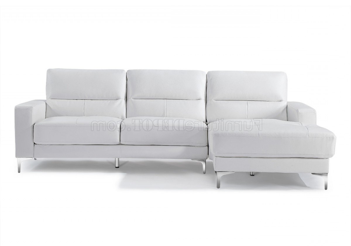 Sectional Sofa In White Bonded Leatherwhiteline Inside Well Liked Memphis Sectional Sofas (View 17 of 20)