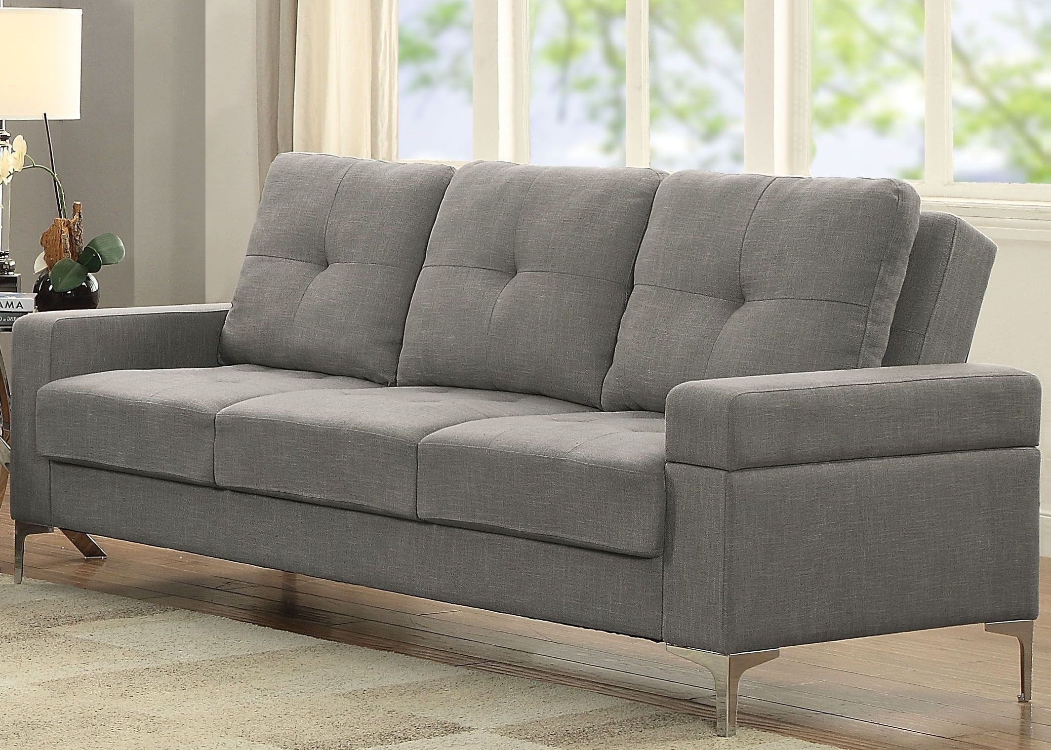 Sectional Sofas At Barrie Regarding 2019 Dorian Gray Linen Adjustable Sofa From Acme (View 14 of 20)