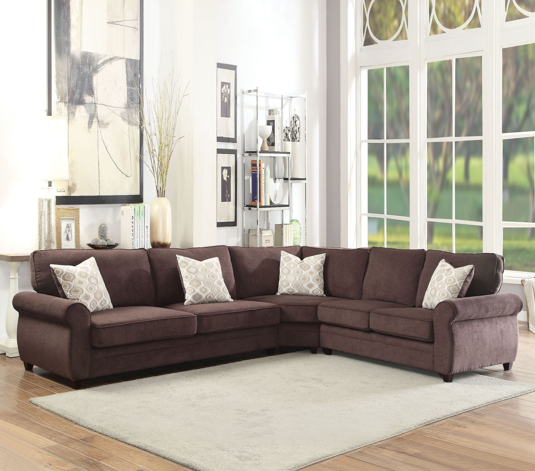 Sectional Sofas At Barrie With Well Liked Randolph Chocolate Chenille Sectional Sofa Sleeper From Acme (View 18 of 20)