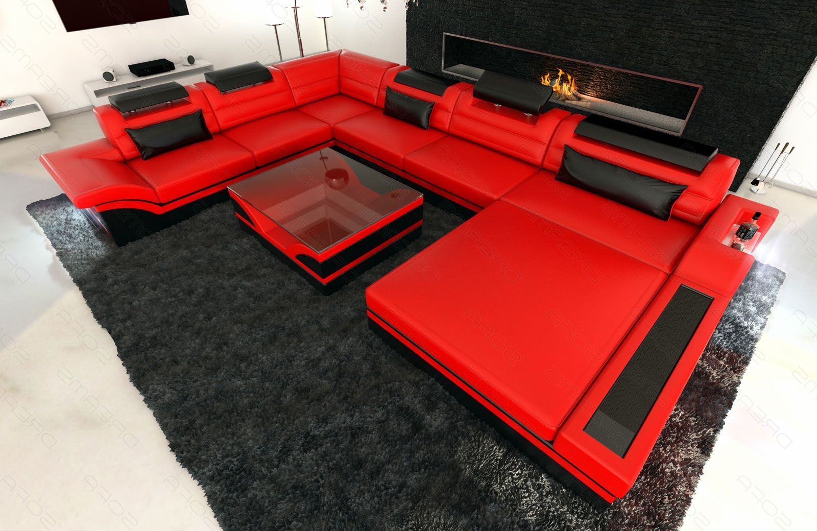 Sectional Sofas At Ebay In Current Design Sectional Sofa Mezzo Xxl With Led Lights Red Black (View 4 of 20)