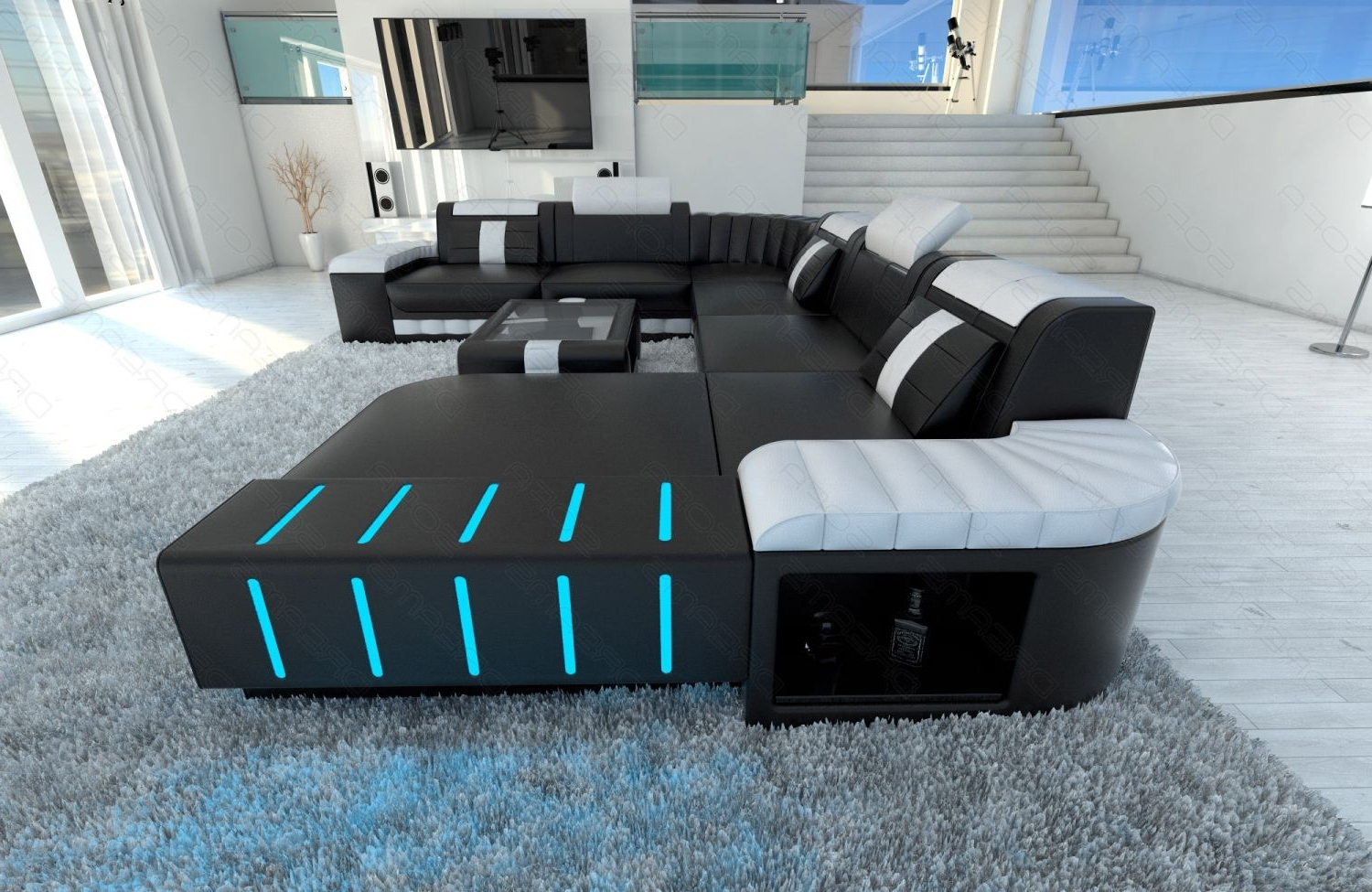 Sectional Sofas At Ebay In Latest Xxl Sectional Sofa Bellagio Led U Shaped Black White (View 14 of 20)