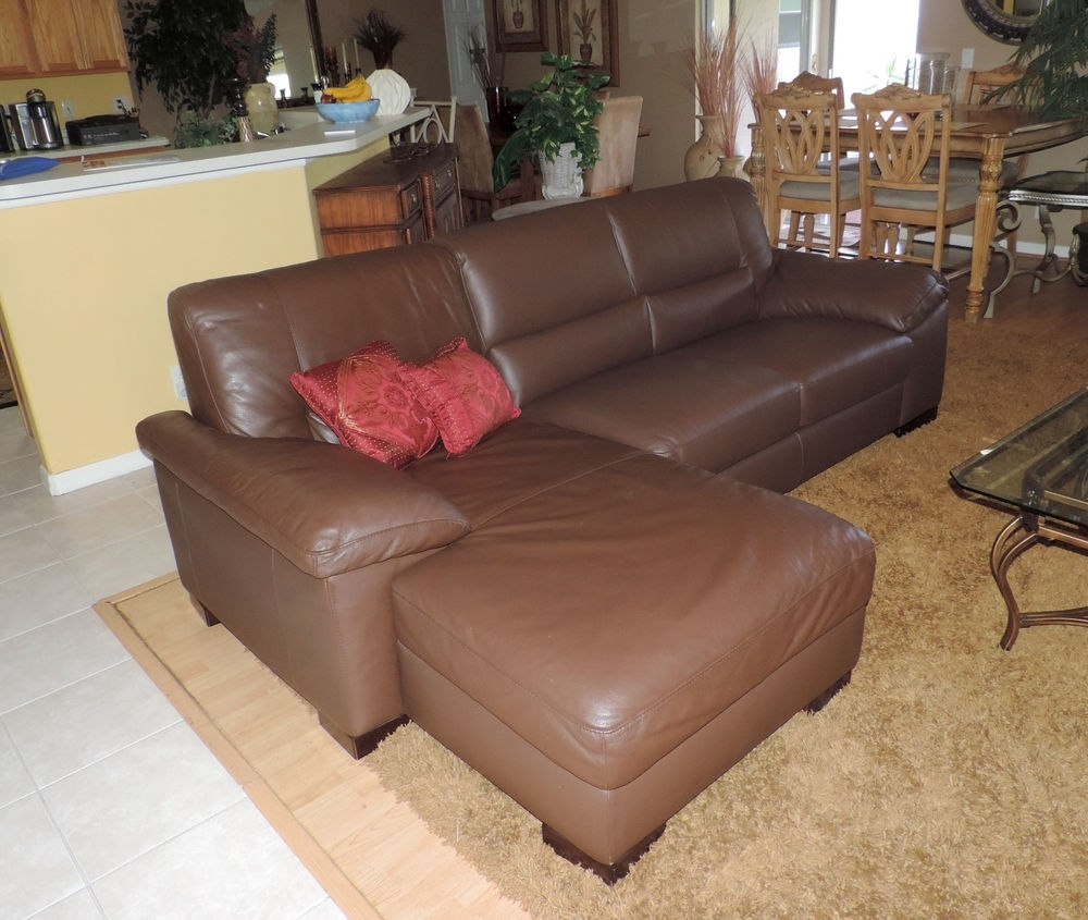 Sectional Sofas At Ebay Inside Newest Macy's Italsofa Two Piece Chocolate Leather Sectional Sofa*we Ship (View 7 of 20)