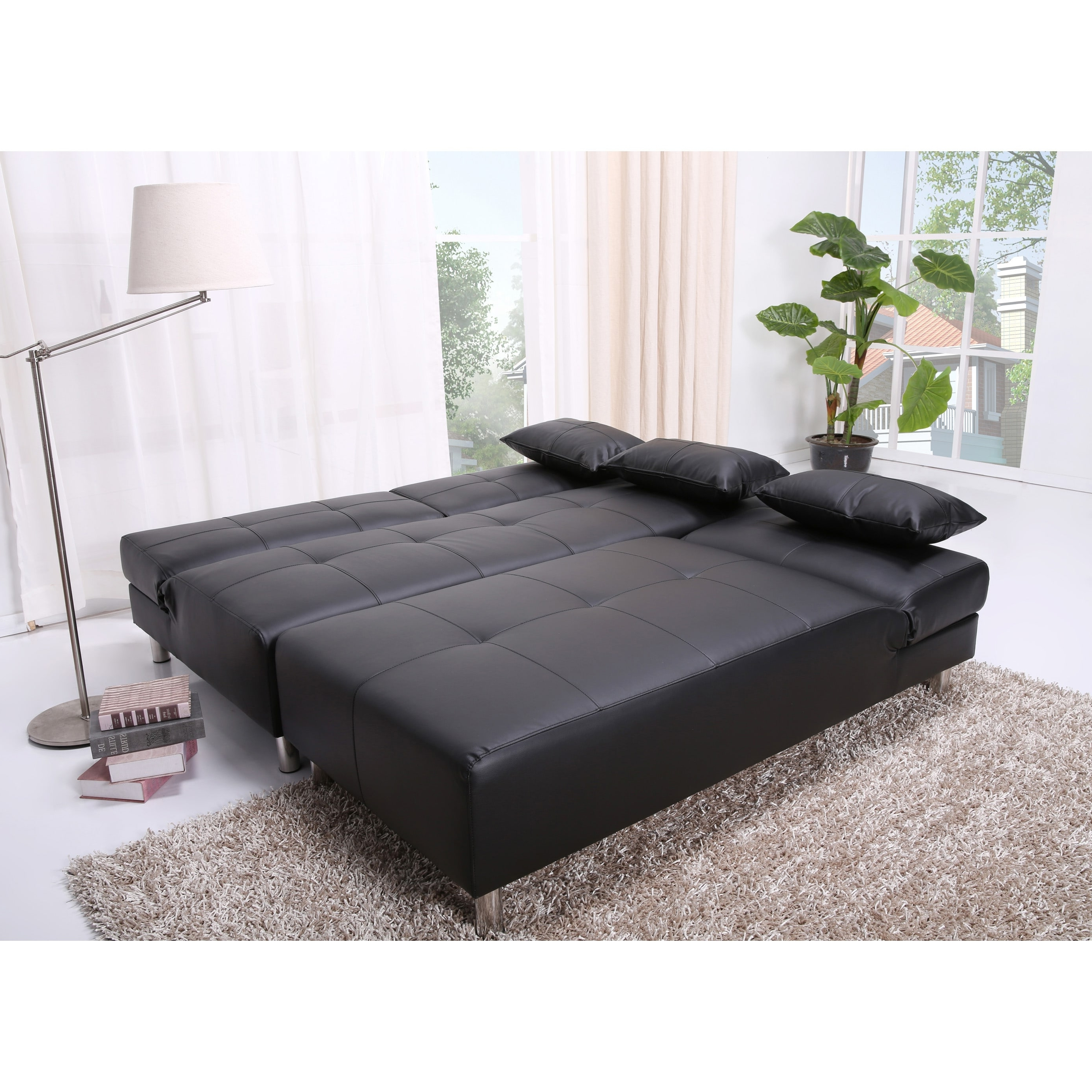 Sectional Sofas In Atlanta Within Most Up To Date Atlanta Black Faux Leather Convertible Sectional Sofa Bed – Free (View 15 of 20)