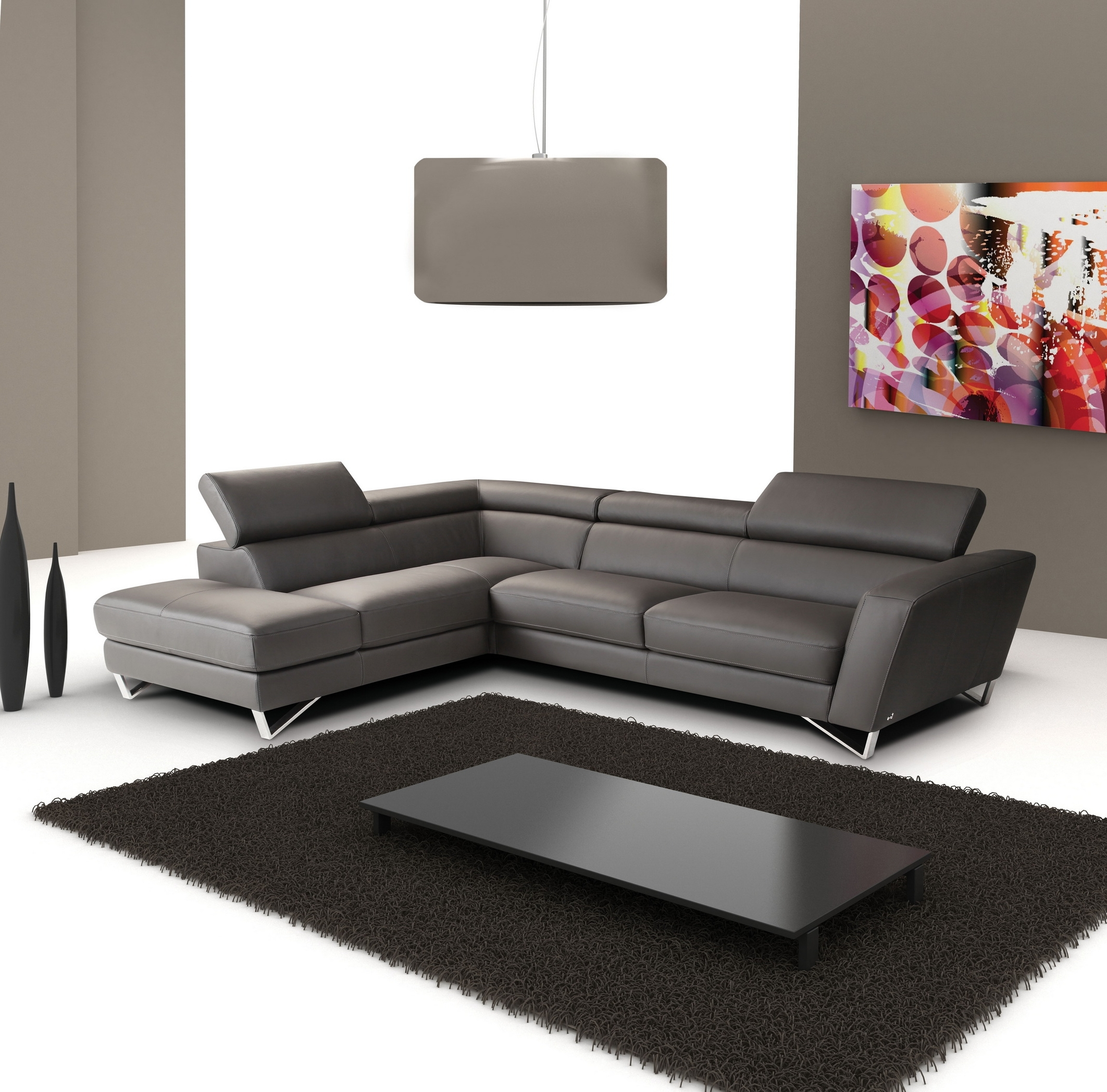 Sectional Sofas In Hyderabad With Regard To Widely Used Lovable Sectional L Shaped Leather Gray Sofa Under White Drum (View 13 of 20)
