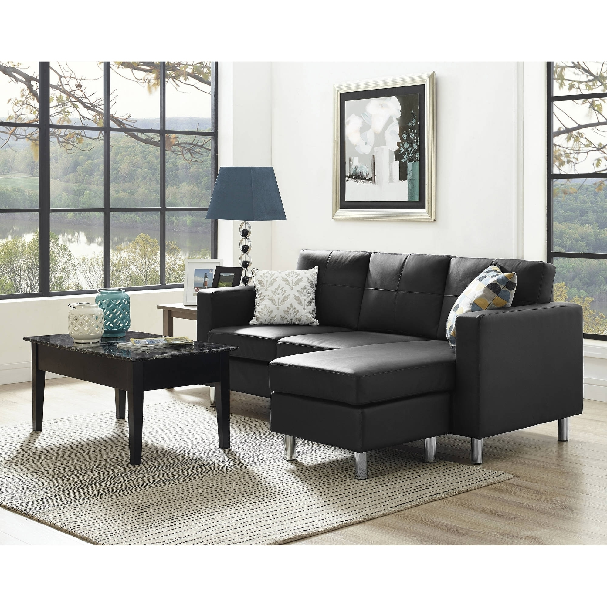 Sectional Sofas In Small Spaces With Regard To Fashionable Edge Small Sectional Sofas For Spaces Sofa Dorel Living The (View 5 of 20)