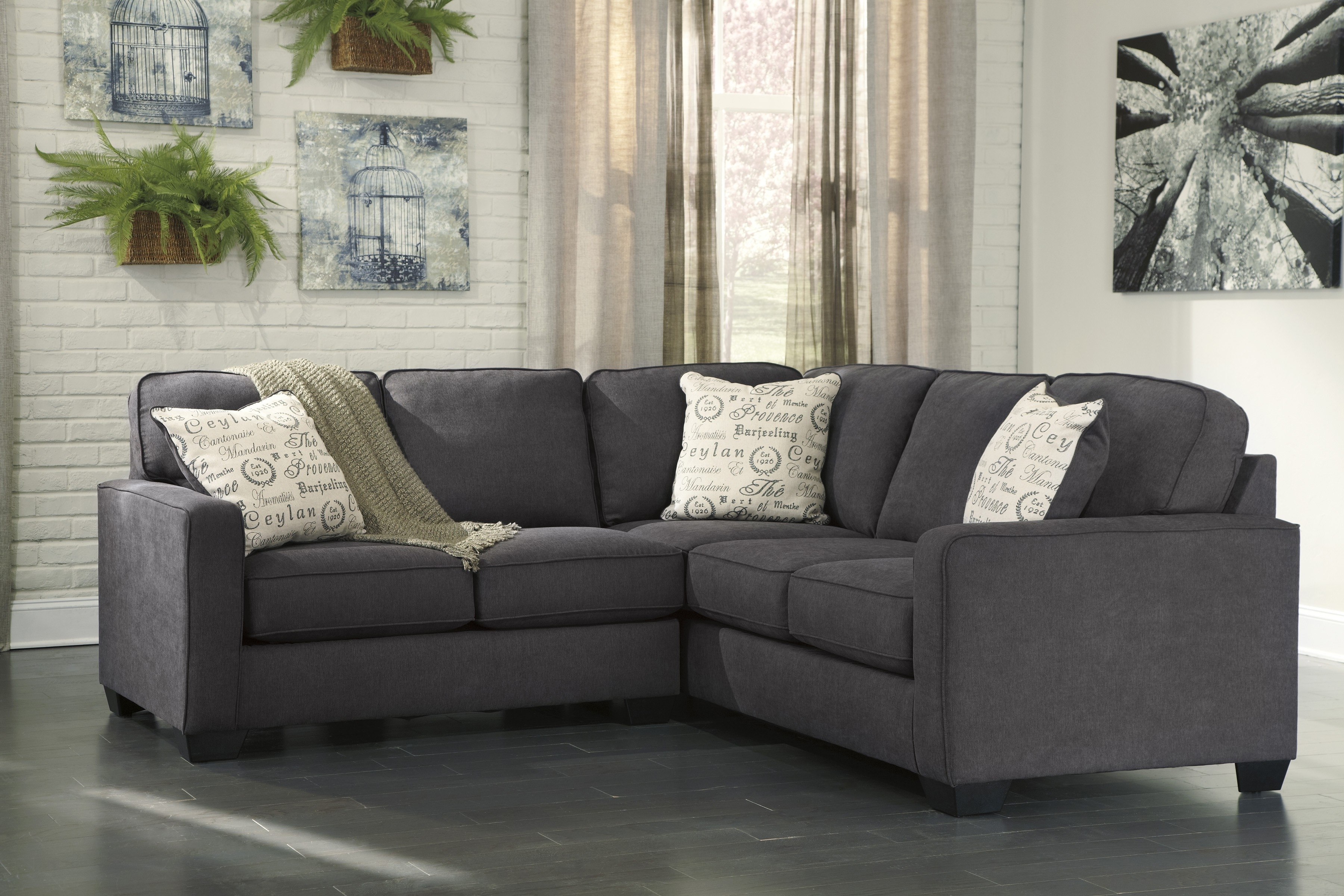 Sectional Sofas That Come In Pieces Within Latest Alenya Charcoal 2 Piece Sectional Sofa For $ (View 6 of 20)