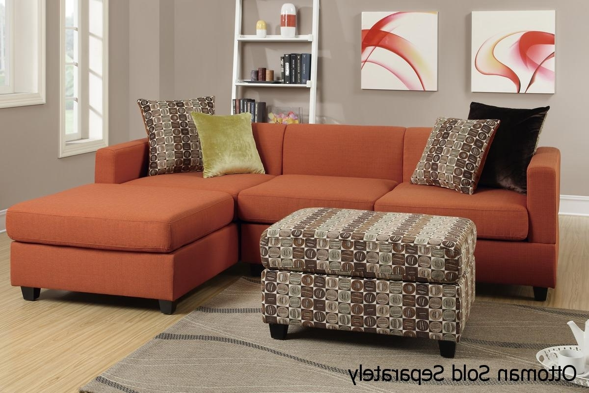 Sectional Sofas Under 400 With Regard To Newest Maribel Orange Fabric Sectional Sofa – Steal A Sofa Furniture (View 14 of 20)
