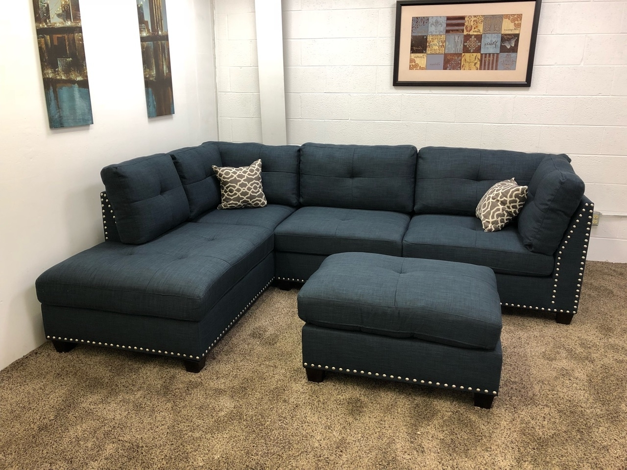 Sectional Sofas With Chaise Lounge And Ottoman Intended For Famous 0 In Stock)#n754r $250 Down Blue Studded Linen Sectional Sofa W (View 10 of 20)