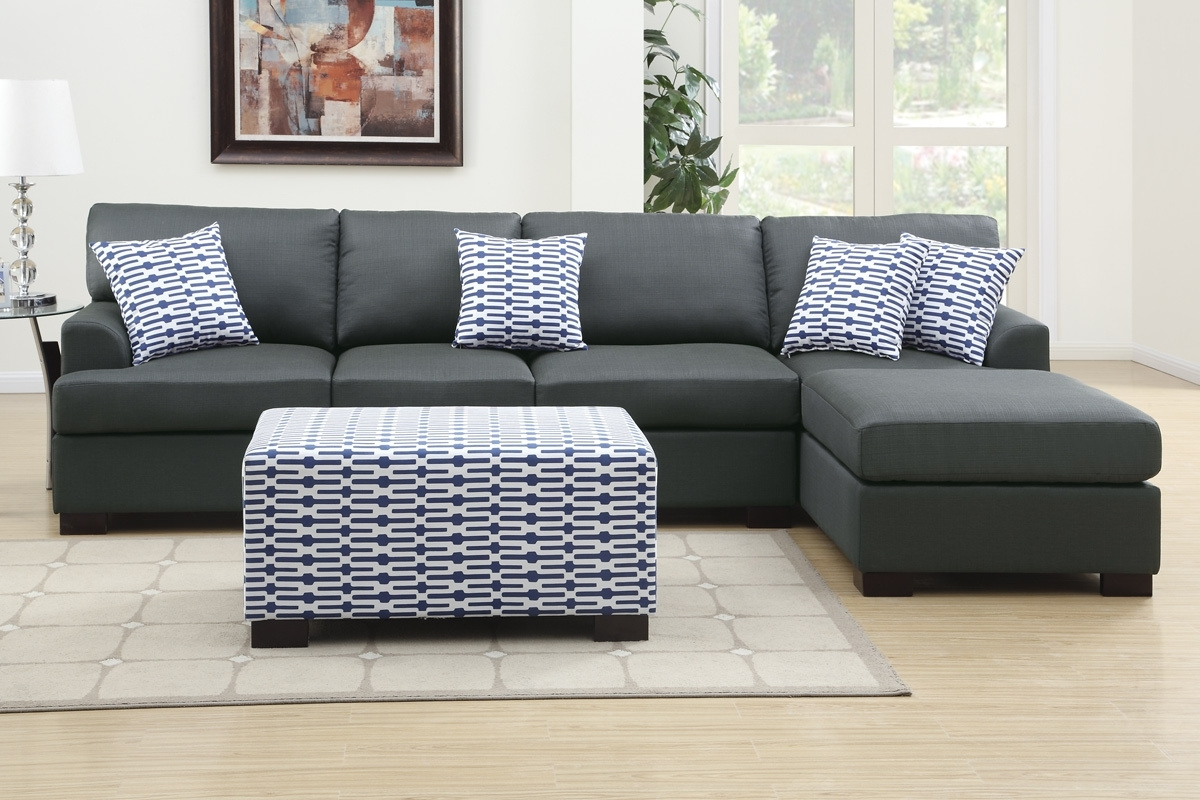 Sectional Sofas With Chaise Lounge And Ottoman Pertaining To Latest Coastal  Dark Grey Sectional Sofa W
