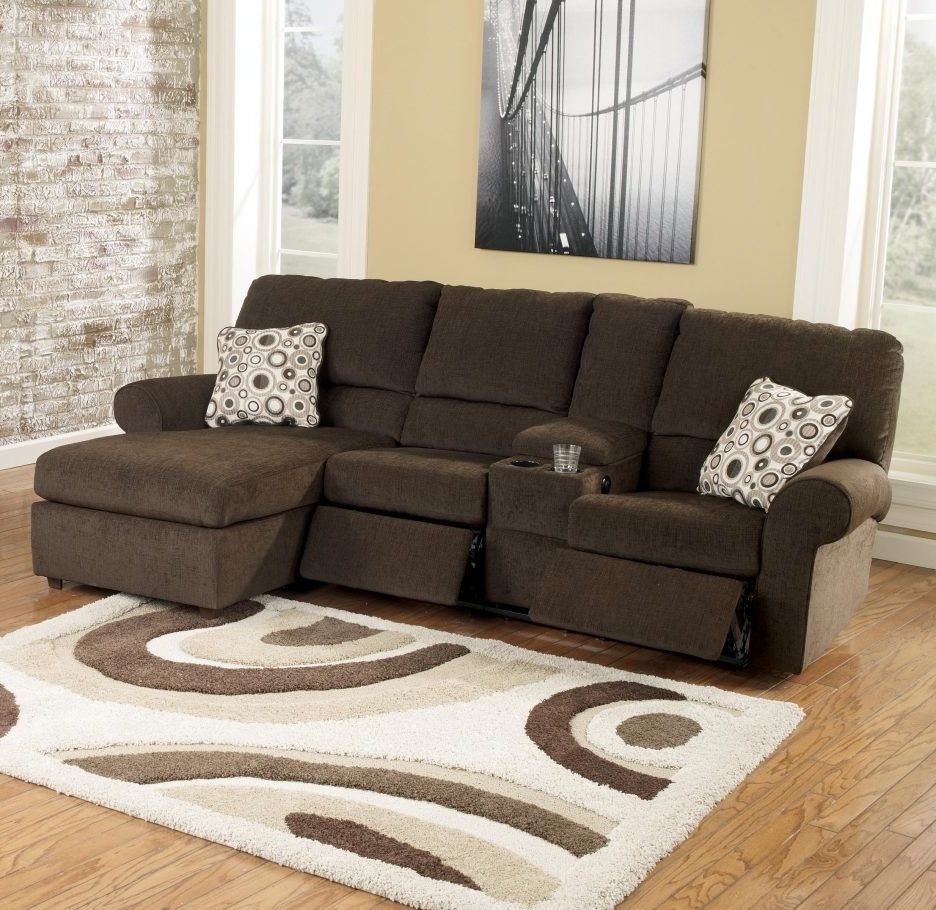 Sectional Sofas With Consoles Pertaining To Well Liked Sofa : Sectional Drink Holder Recliner With Cup Holder Couch (View 15 of 20)