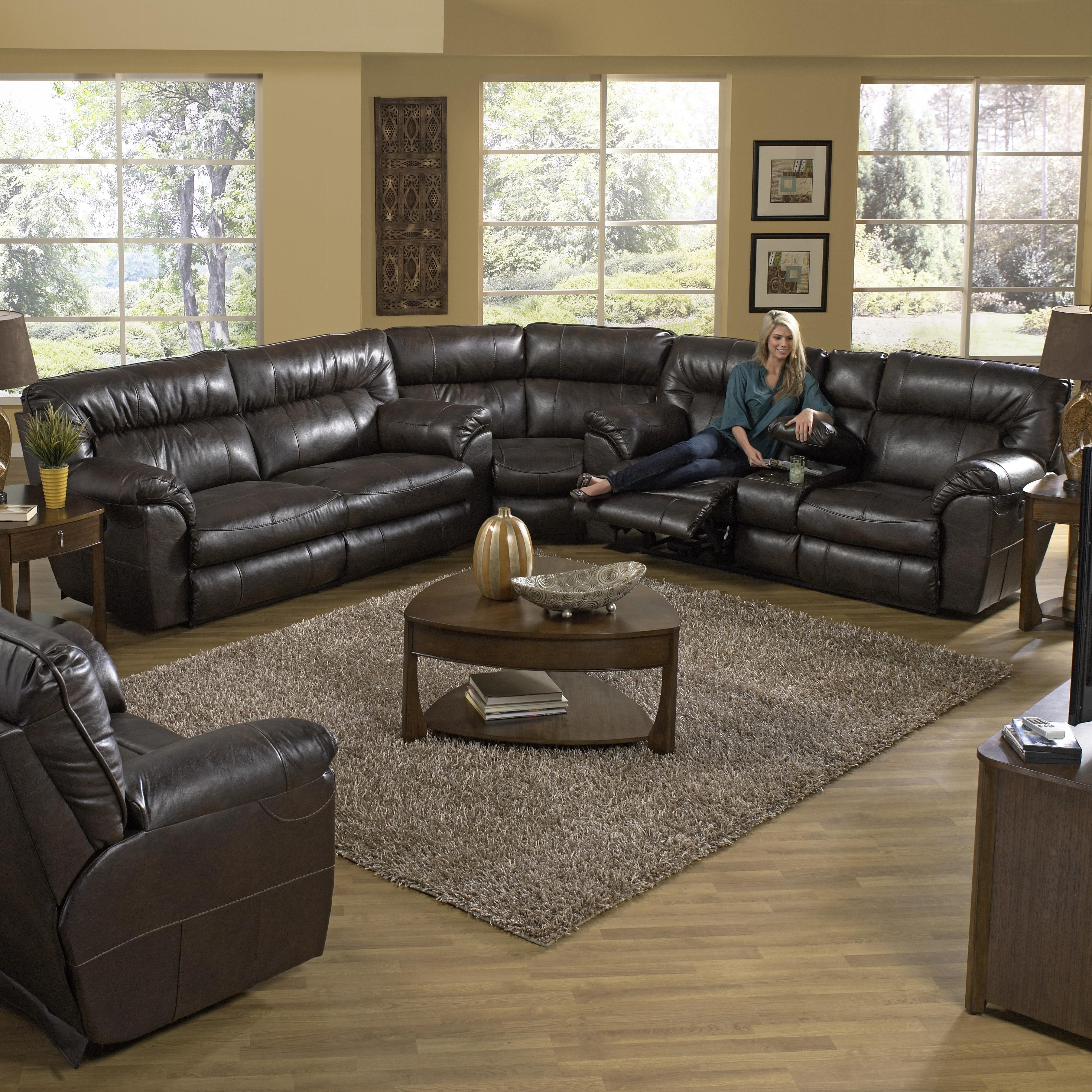 Sectional Sofas With Consoles Regarding Most Current Power Reclining Sectional Sofa With Left Consolecatnapper (View 12 of 20)