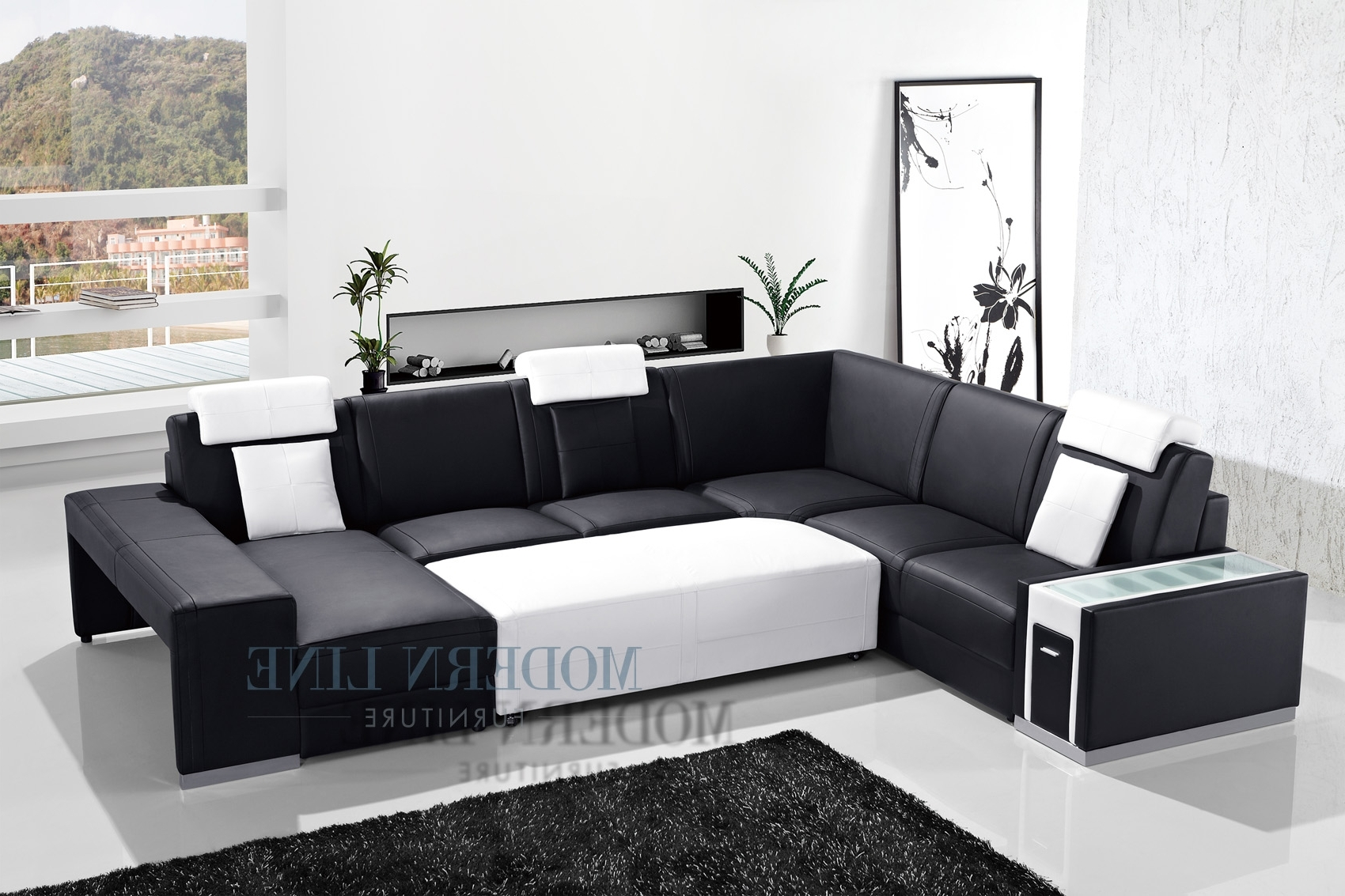 Sectional Sofas With Consoles Regarding Most Recently Released Living Room Design: Awesome Black Leather Sectional For Elegant (View 18 of 20)