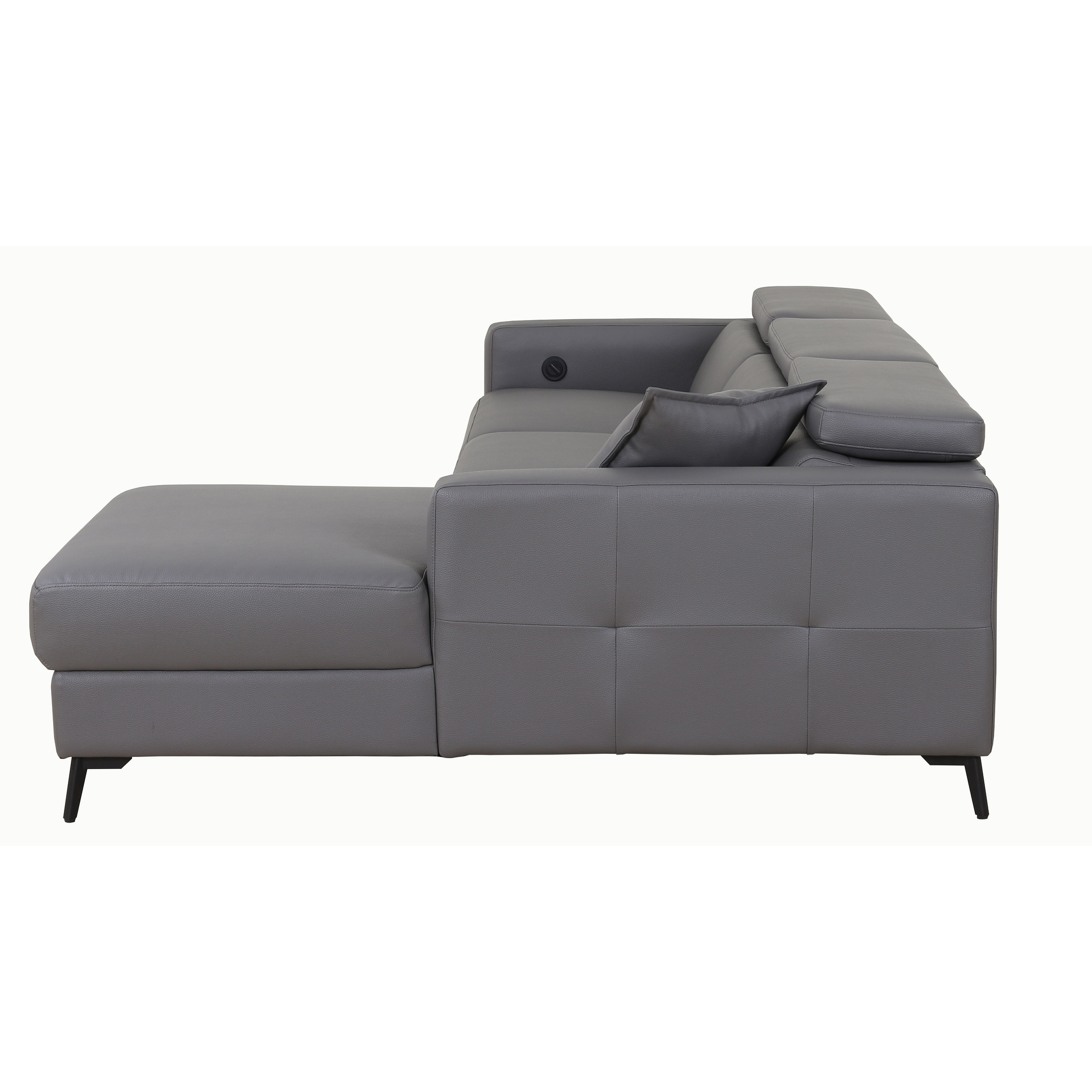 Sectional Sofas With Electric Recliners Regarding Newest Ladeso Modern Sectional Sofa With Electrical Recliner Dark Grey (View 14 of 20)