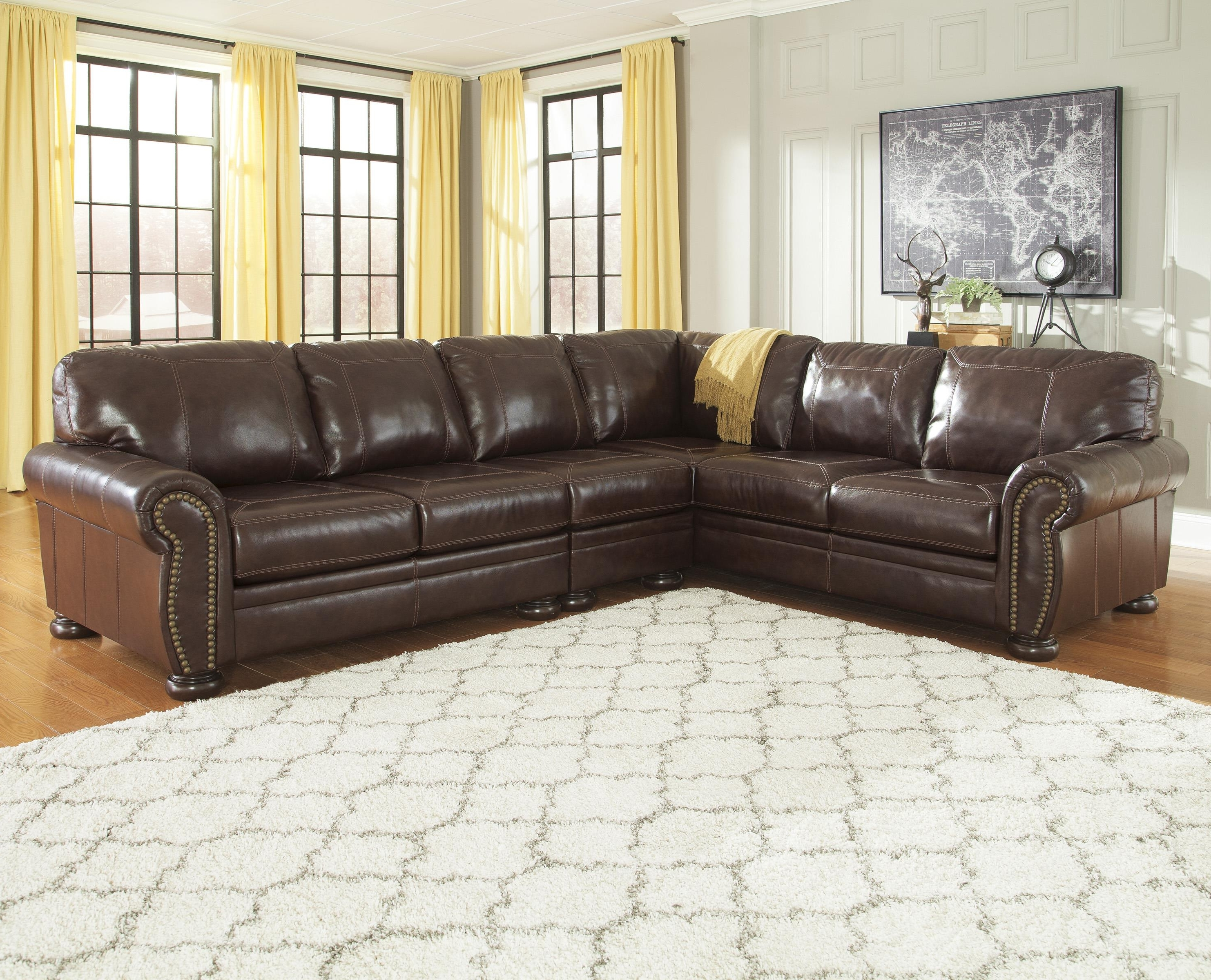 Sectional Sofas With Nailheads Regarding Fashionable 3 Piece Leather Match Sectional With Rolled Arms, Nailhead Trim (View 16 of 20)